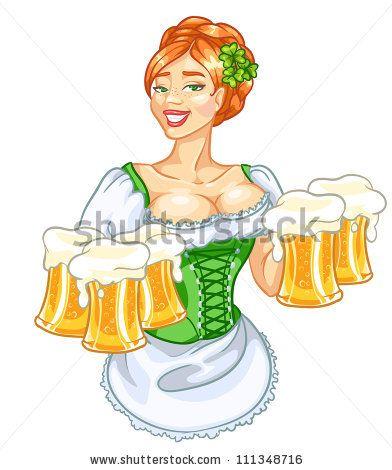 Deň svätého Patrika pekné dievča s pivom, ryšavka žena izolovaná - vektora