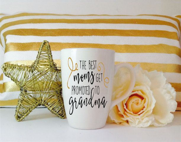 The best moms get promoted to grandma 12 oz coffee mug cup vinyl decal pregnancy announcement canvas grandmother waterbottle tumbler