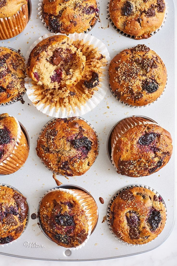 This is the most delicious reason to pick up a basket of sour cherries right now. This recipe for sour cherry chocolate chunk muffins is what you'll be looking forward to taking for breakfast. This fruity breakfast uses whole-wheat flour, baking powder, milk, chopped dark chocolate and fresh sour cherries.