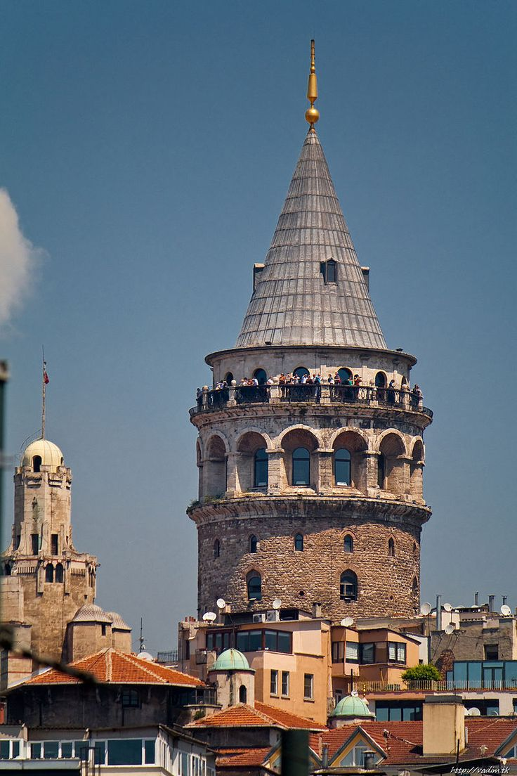 The Galata tower was built as   Tower of Christ in 1348 during an expansion of the Genoese colony in Constantinople - Istanbul / Turkey