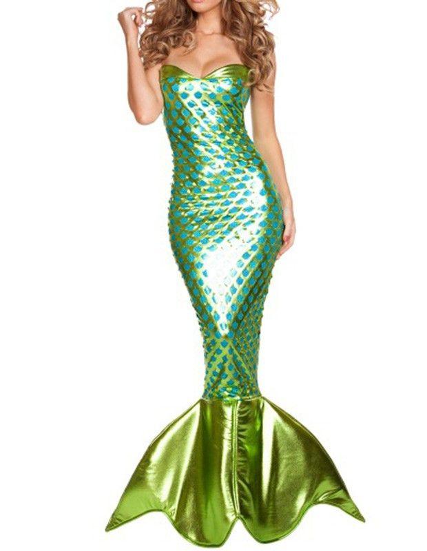 Womens Haute Green Mermaid Fancy Dress Halloween Costume