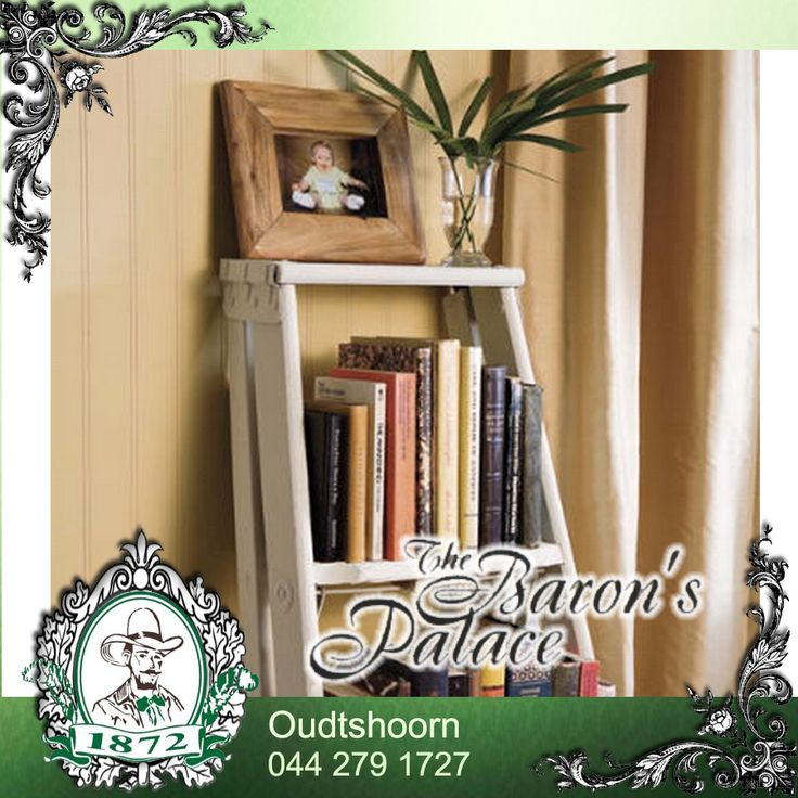 A simple DIY bookcase can be made with a ladder and some wood planks.  #DIY #Ladder #Ideas