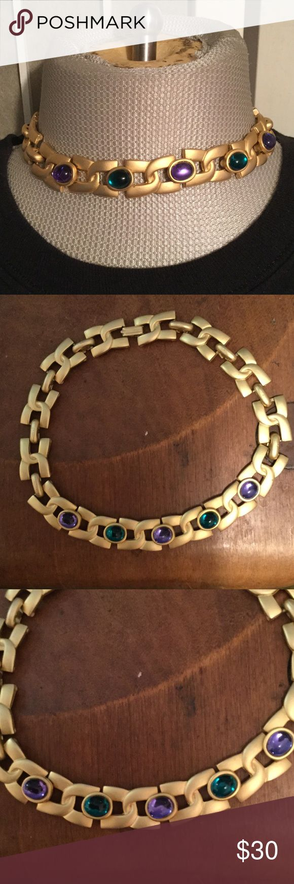 1980s High Quality Costume Jewelry Choker This is a thick linked high quality 1980s choker from Bloomingdales. It's made of brass with gold foil, slightly different then gold plating more commonly used in costume jewelry with high quality beads so they appear like gems. I know it's from Bloomingdales because when I was a small child my aunt would take me to the very fancy Bloomingdales on Lex in NYC and I was holding her hand when she bought it. I wanted it, on most necks it will be a choker…