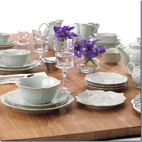 A lovely Lenox French Perle table setting.