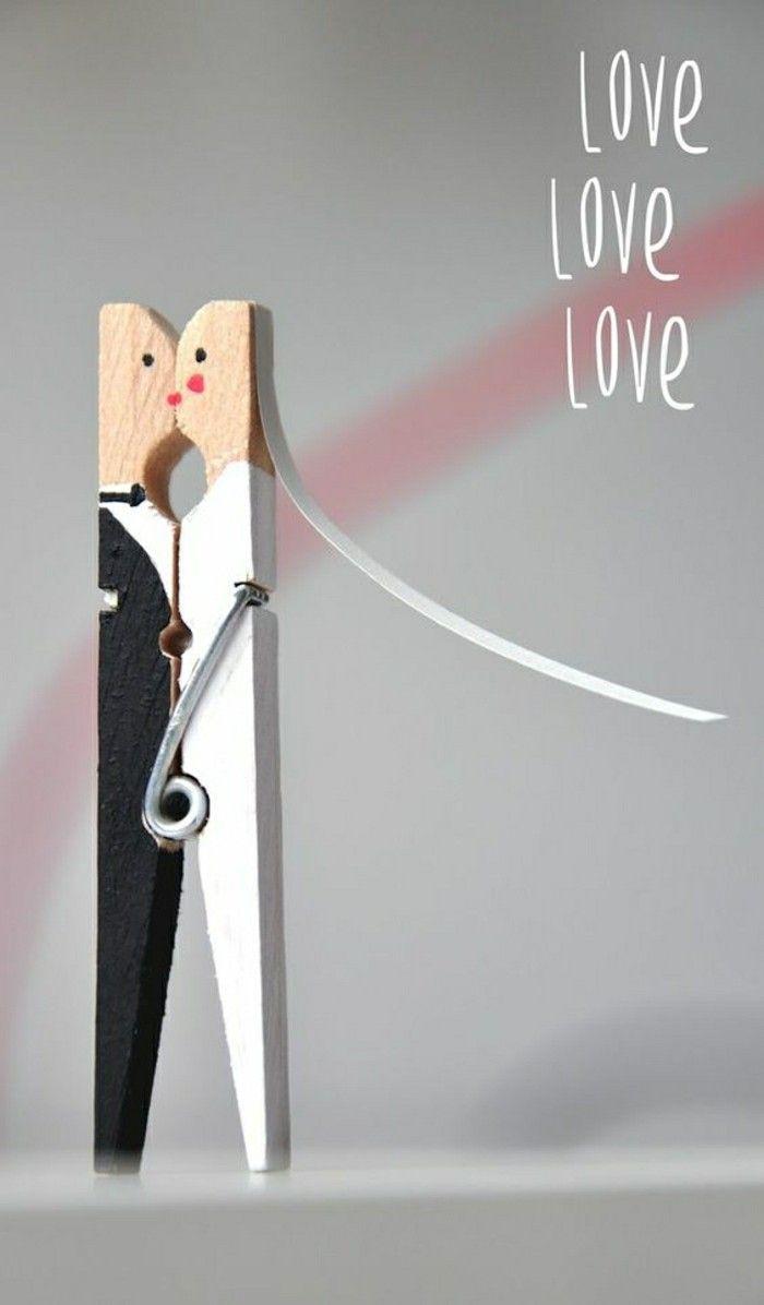 jolie deco diy avec une épingle à ligne, decoration mariage avec une épingle à linge