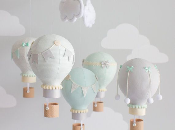 Gender neutral baby mobile, hot air balloons in mint and grey with ivory for your nursery décor. Great for a travel theme nursery.  Little hot