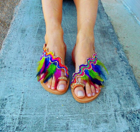 Colorful Boho Sandals ''Rainbow Macaw'', Feather Sandals, Hippie Shoes, Native America Sandals, Leather Slingback Sandals #feathersandals