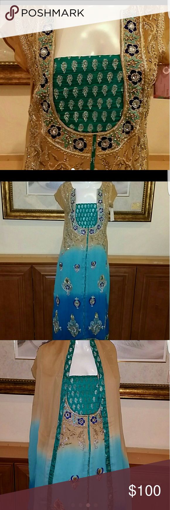 Pakistani indian salwar kameez anarkali Tried on once  Gorgeous deep neck dress/suit Size 40-42 Perfect for Eid Diwali any occasion Dresses