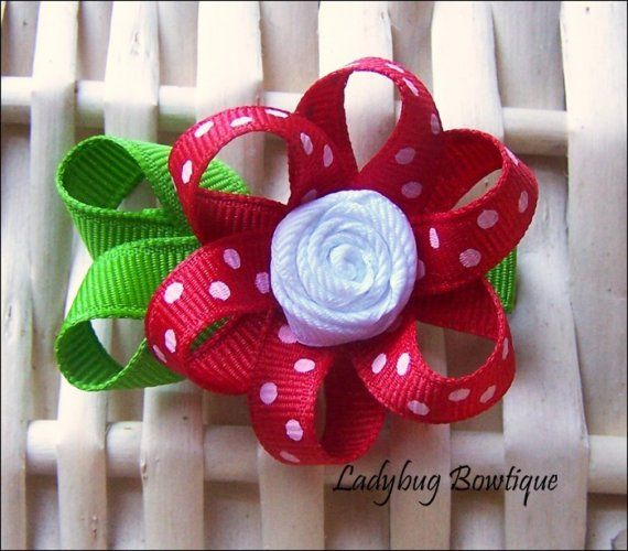 Little Ribbon Hair Flower Red Polkadots by LadybugBowtique