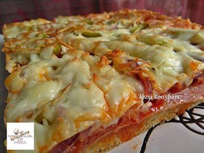 Receptek, és hasznos cikkek oldala: Baconös kolbászos pizza tepsiben sütve