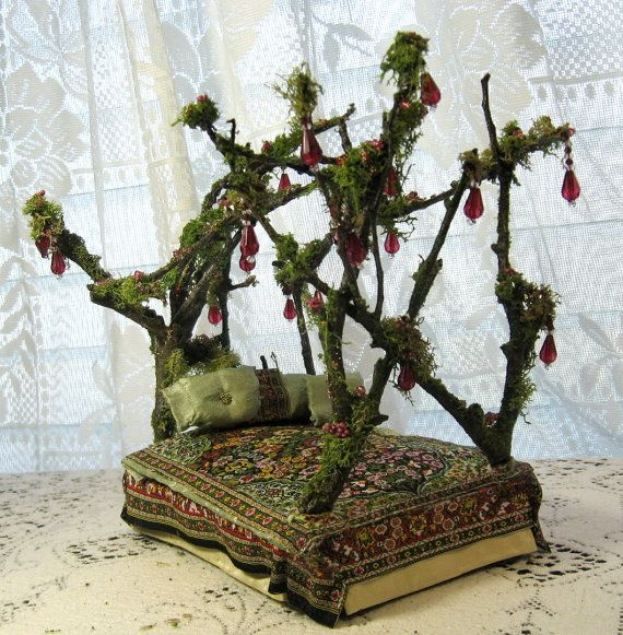 """Enchanting Mossy Jewel Fairy Bed by Melissa Chaple via Etsy. Another """"wow!"""". Visit her store, and check out her fairy dollhouse site, too- link at her Etsy shop. --Meggie"""