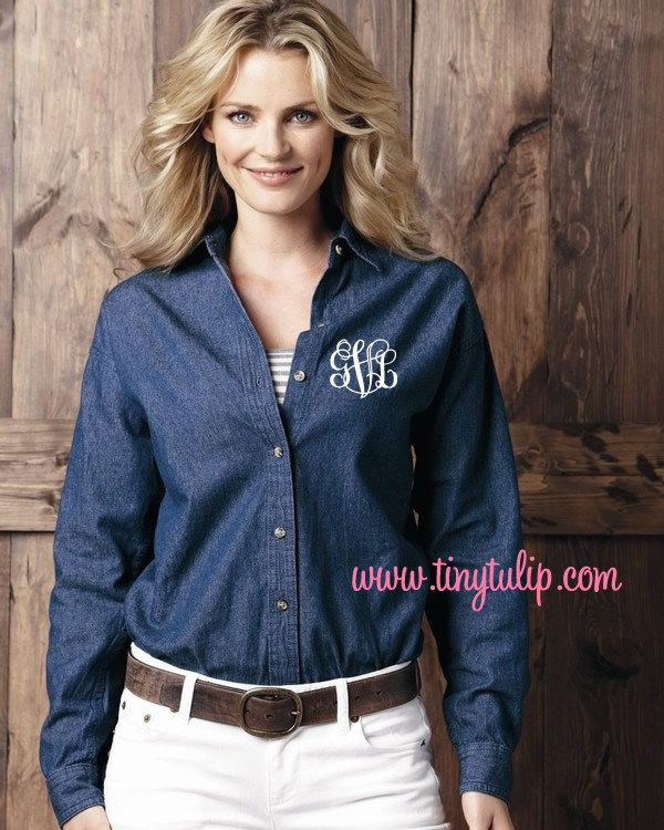 tinytulip.com - Monogrammed Ladies Denim Shirt, $32.50 (http://www.tinytulip.com/monogrammed-ladies-denim-shirt)