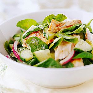 Salmon and Spinach Salad with Flaxseed Dressing From Better Homes and Gardens, ideas and improvement projects for your home and garden plus recipes and entertaining ideas.