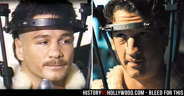 Boxer Vinny Pazienza and actor Miles Teller in the Bleed for This movie. See pics of the real people behind the movie: http://www.historyvshollywood.com/reelfaces/bleed-for-this/