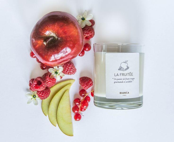 La Fruitée  https://www.biancaparis.fr  Bougie - Bougie parfumée - BIANCA PARIS - Fabriquée en France - Fabrication française - Made in France - Cire végétale - Cire de soja - La Fruitée - Fruits Rouges - Pommes croquantes