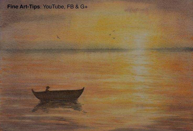 How to Paint a Waterscape Sunset in Watercolor  #painting #watercolor #art #painting #waterscape #FineArtTips #sunset #landscape #sea #tutorial #artistleonardo #LeonardoPereznieto  Take a look to my book here: http://www.artistleonardo.com/#!ebooks-english/cswd