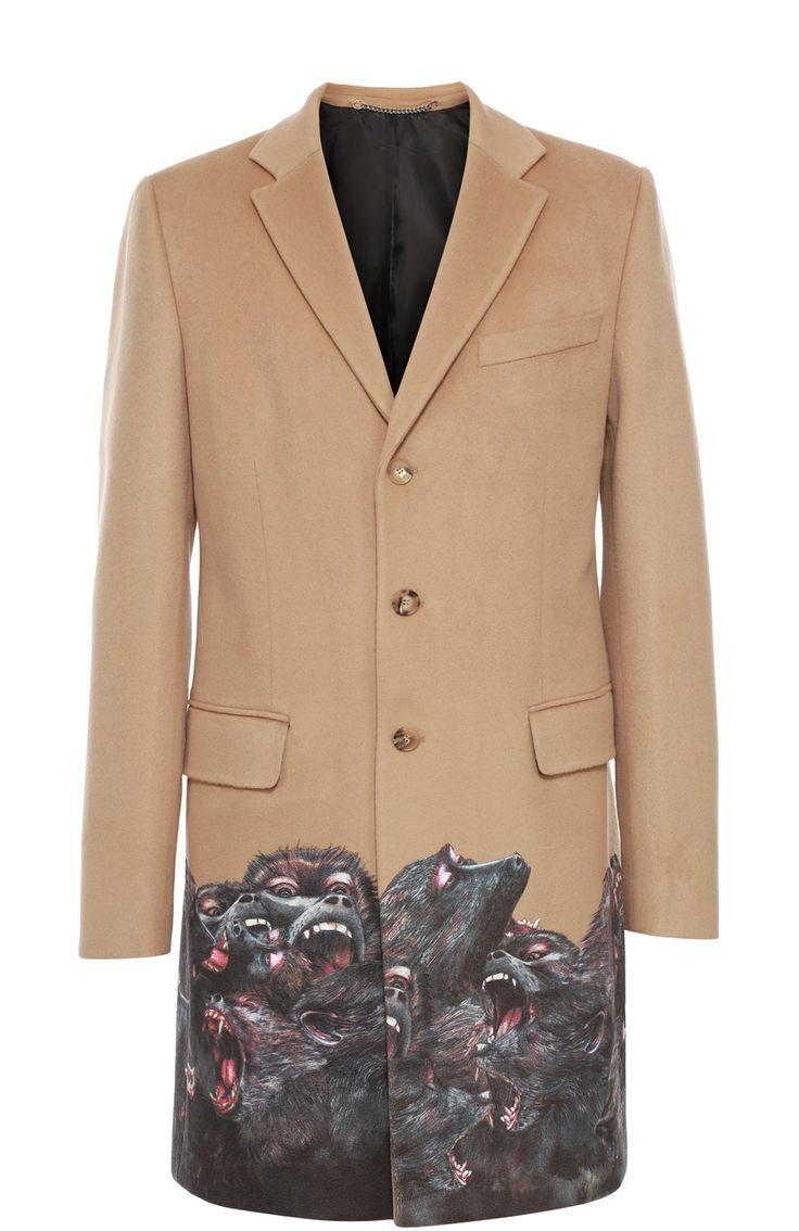 Givenchy Однобортное пальто из смеси шерсти и кашемира бежевого цвета с принтом  166500 RUB = 2600 EUR.
