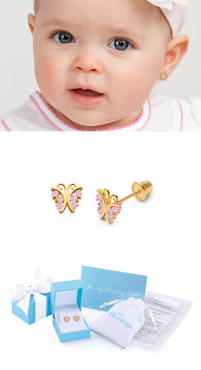 Curly Erfly Pink Pavé Cz Baby Children S Earrings Back 14k Gold