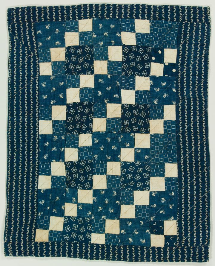 Four Patch, crib/doll quilt, c. 1870-1890, cotton/calico, hand and machine pieced, 25 x 20, possibly made in Indiana, IQSC Collection:Ardis and Robert James Collection
