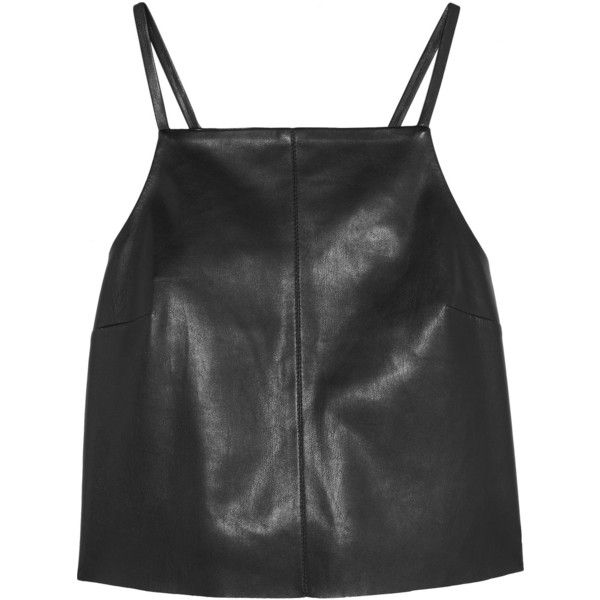Nanushka Nanushka - Kate Cropped Faux Leather Top - Black ($240) ❤ liked on Polyvore featuring tops, strappy crop top, square neckline tops, strap crop top, square neck crop top and leather look top