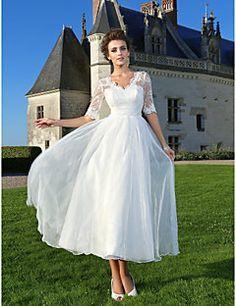 Lanting Bride A-line / Princess Petite / Plus Sizes Wedding Dress-Ankle-length V-neck Lace / Organza – USD $ 109.99