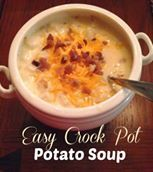 Easy Crock Pot Potato Soup  Ingredients:  1 30oz. bag of frozen diced hash browns 1 32 oz box of chicken broth 1 can of cream of chicken soup (10 oz) 1 pkg. cream cheese (8 oz, not fat free) 3 oz bacon bits  1 cup shredded cheddar cheese  salt and pepper to taste   Directions: Put the potatoes in the crockpot. Add in the chicken broth, cream of chicken soup and half of the bacon bits. Add a pinch of salt and pepper.  Cook on low for 8 hours or until potatoes are tender.  An hour before ...