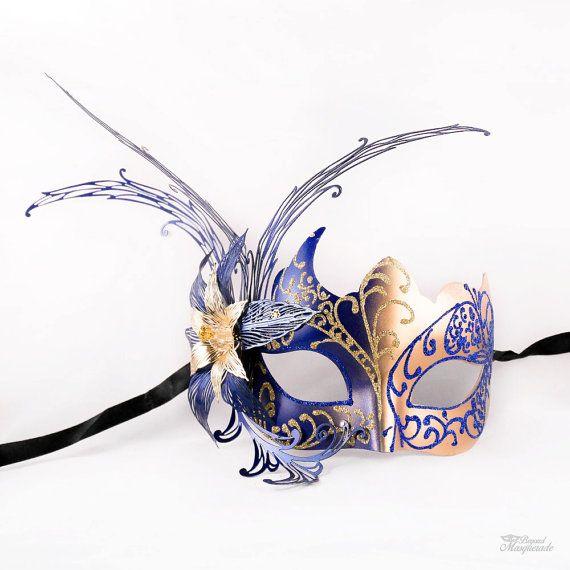 Gold Maskerade Maske Maskerade Maske Royal Blau von 4everstore