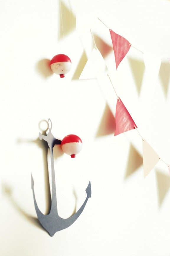 DIY Pirate Decorations. Make the anchor out of black poster board and craft paper triangles for wall decorations
