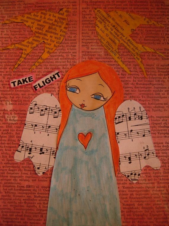 Make your Own Art / Mixed Media Angel Painting Art by eltsamp, $58.00