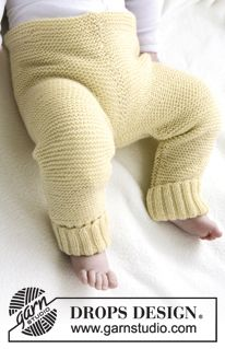 """DROPS kalhoty pletené vroubkovým vzorem z příze """" Baby Merino"""". ~ DROPS Design"""
