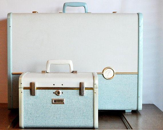 Vintage blue suitcases