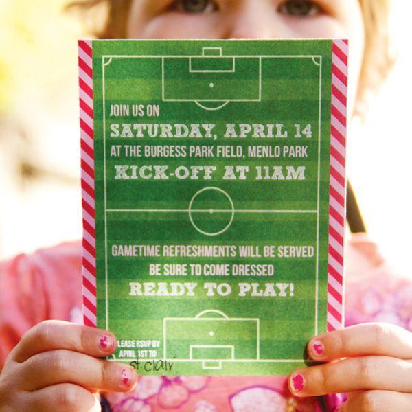 Playful Pink & Orange Girls Soccer Party