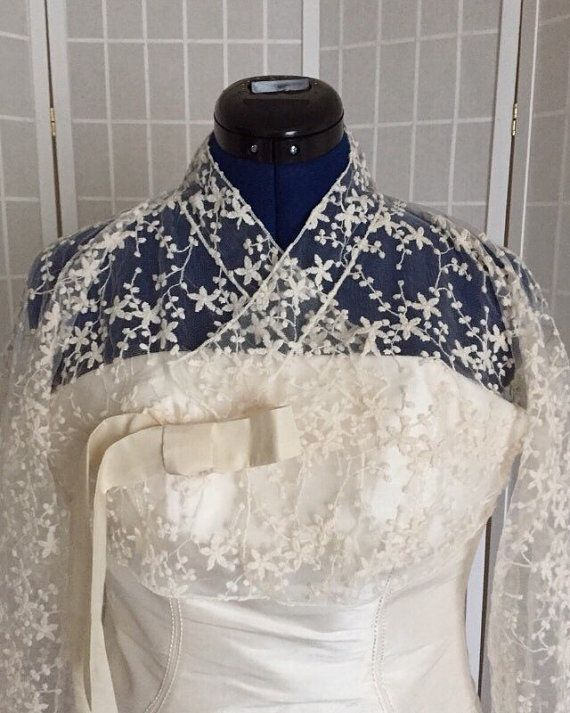 Hanbok. 한복 Lace hanbok top (jeogori). Korean wedding jacket. Korean bridal top. Asian-inspired bridal bolero.,