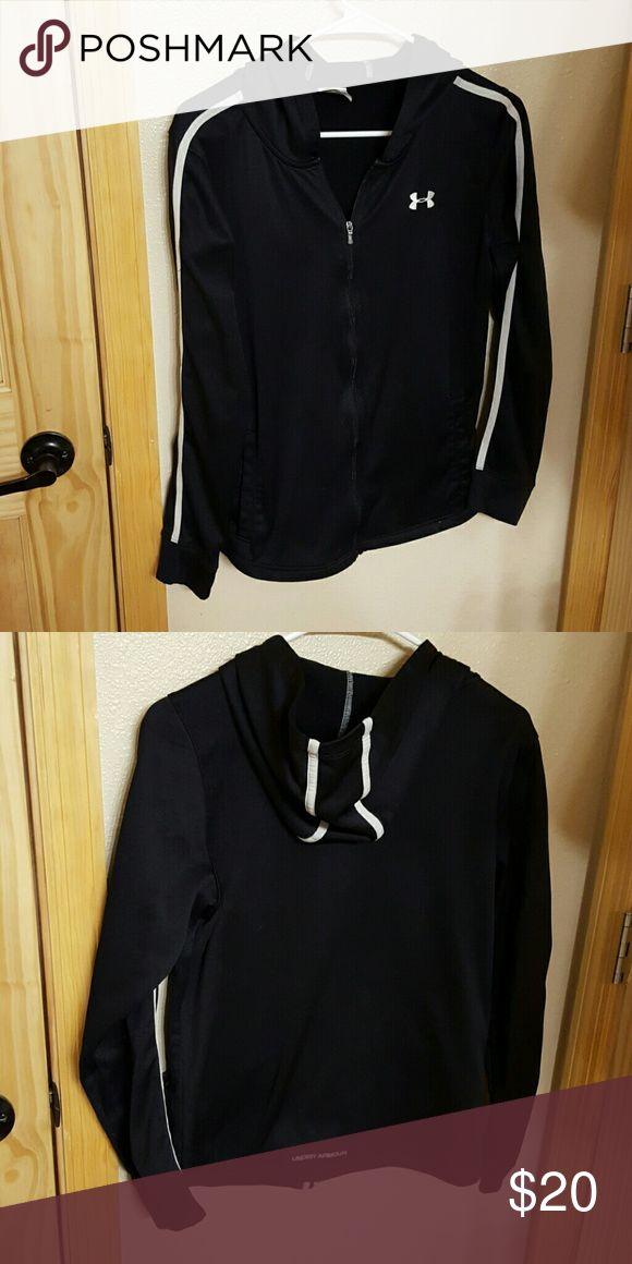 Under Armour zip up hoodie. Women's medium. Black and white under armour zip up hoodie. Under Armour Tops Sweatshirts & Hoodies