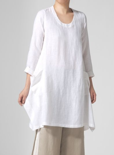 PLUS Clothing - Linen Long Sleeve Top