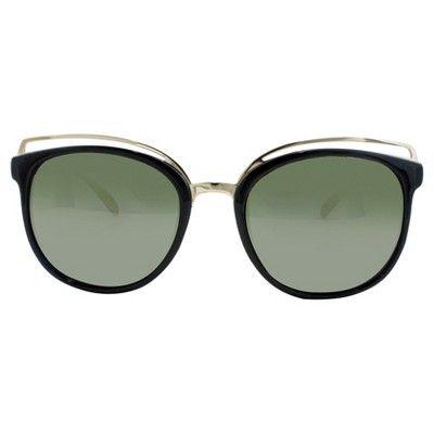 Women's Cat Eye Sunglasses with Gold Metal Trim - Black