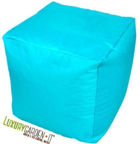 Pouf / sacco con rivestimento esterno in nylon e rivestimento interno in pvc impermeabile. Disponibile in tre colori: verde, arancio, azzurro.