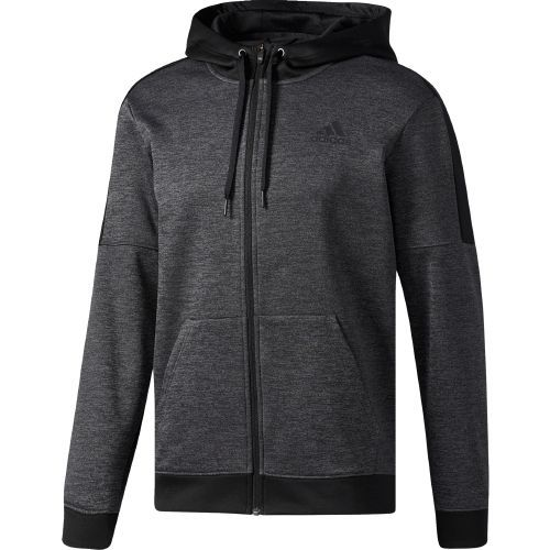 Adidas Men's Team Issue Fleece Full-Zip Hoodie (Grey Dark, Size Large) - Men's Athletic Apparel, Men's Athletic Fleece at Academy Sports