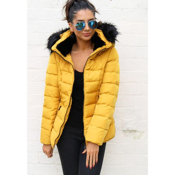 Quilted Padded Short Hooded Puffer Anorak Coat with Fur Trim in... ($105) ❤ liked on Polyvore featuring outerwear, coats, quilted puffer jacket, quilted puffer coat, puffy jacket, fur trim coats and yellow coat