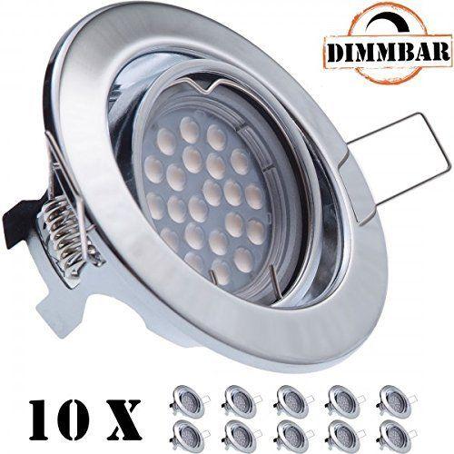 Popular er LED Einbaustrahler Set Aluminium matt mit LED GU Markenstrahler von LEDANDO W DIMMBAR