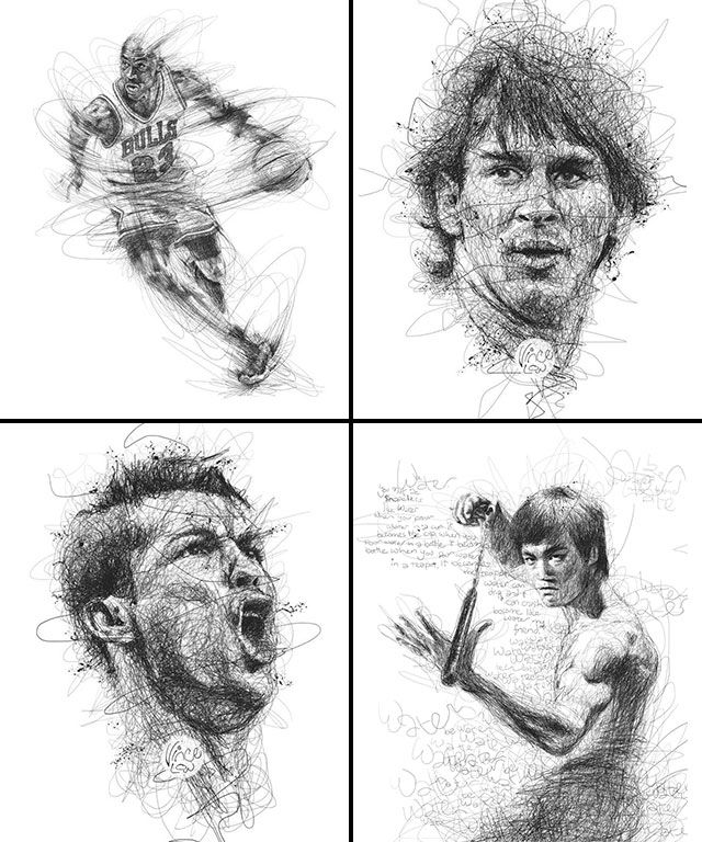 Michael Jordan | Leo Messi | Cristiano Ronaldo | Bruce Lee by Vince Low