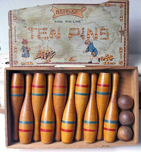 Antique 1900 Vintage Bradley Wooden Ten Pins Game Set In