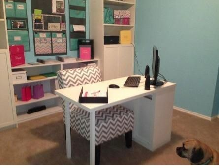 Love this beautiful office!  Using Thirty-One's hang up home organizers!