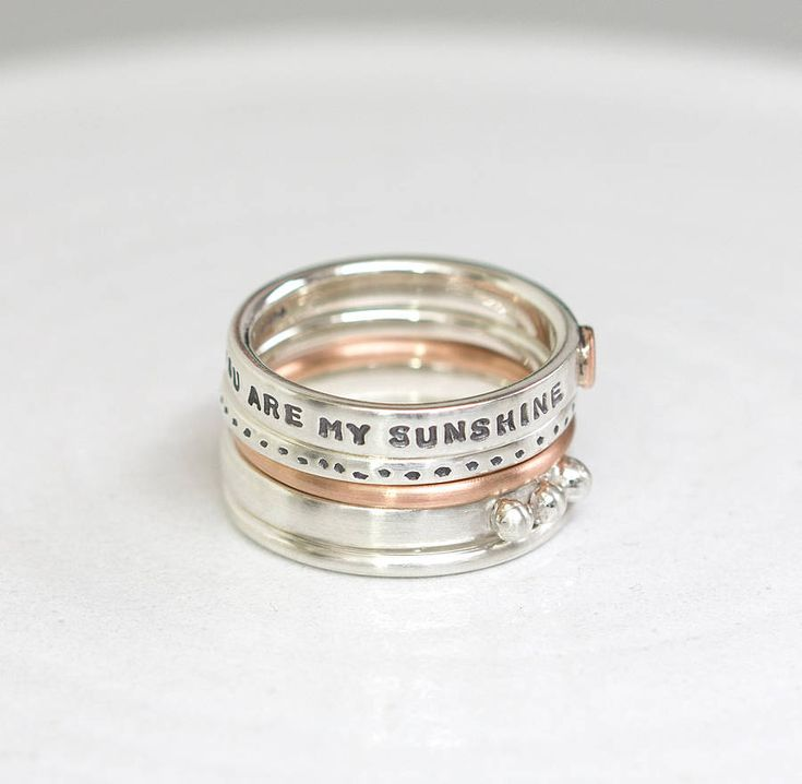 Personalised Stacking Rings With Rose Gold really pretty bridesmaids presents.. http://www.notonthehighstreet.com/notes/product/personalised-silver-stacking-rings  http://www.pinterest.com/ikonworks/ https://www.facebook.com/pages/Ikon-Works/335268166553005 #rockmywinterwedding @Rock My Wedding
