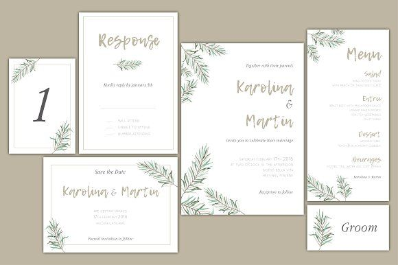 Forest green wedding invitation set by Crocus Paperi on @creativemarket