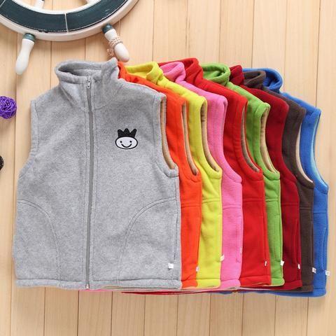 Girls Sports Vests spring autumn  2~7Years kids fleece Sports Jackets Vest Boy Children stand collar Cartoon Girls Sports Vests