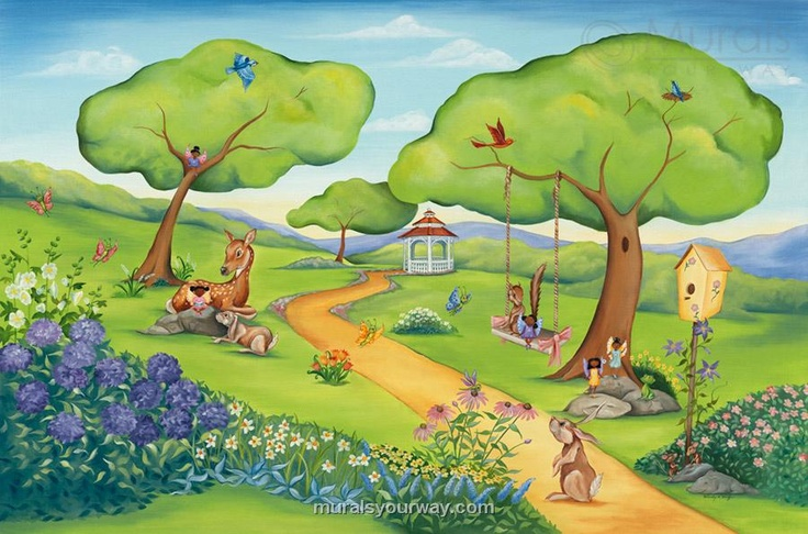 African american wallpaper childrens mural from murals for Fairy garden wall mural