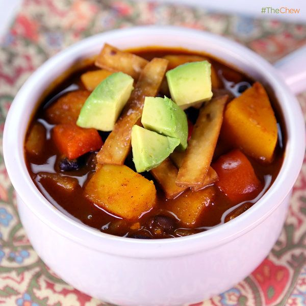 Butternut Squash Chipotle Chili with Avocado by Tracy Christiani! #TheChew #MeatlessMonday