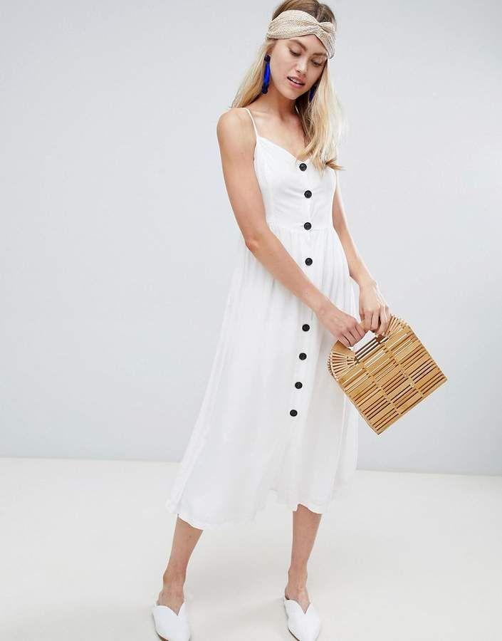 db53fe7e22e Bershka button front dress in white. Button white dress. Summer button dress.  Button midi dress.  mididress