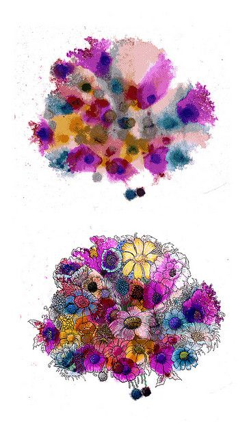 Watercolor splashes, then doodled into flowers